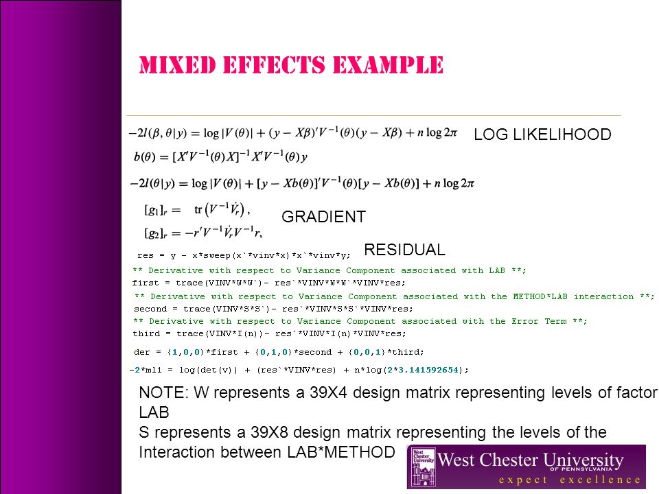 MIXED EFFECTS Example LOG LIKELIHOOD GRADIENT RESIDUAL