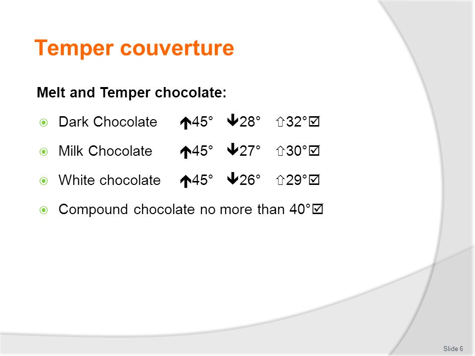Temper couverture Melt and Temper chocolate: