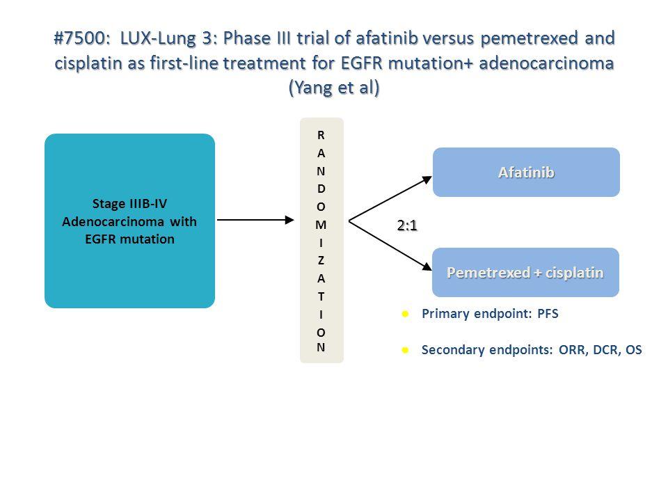 Stage IIIB-IV Adenocarcinoma with EGFR mutation Pemetrexed + cisplatin