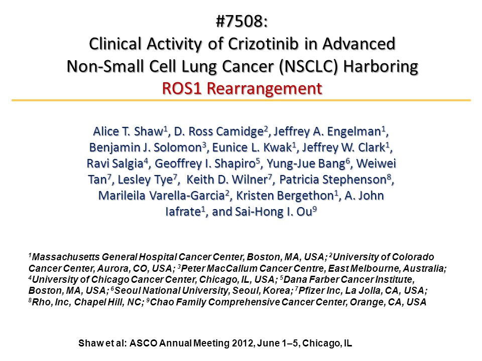 #7508: Clinical Activity of Crizotinib in Advanced Non-Small Cell Lung Cancer (NSCLC) Harboring ROS1 Rearrangement