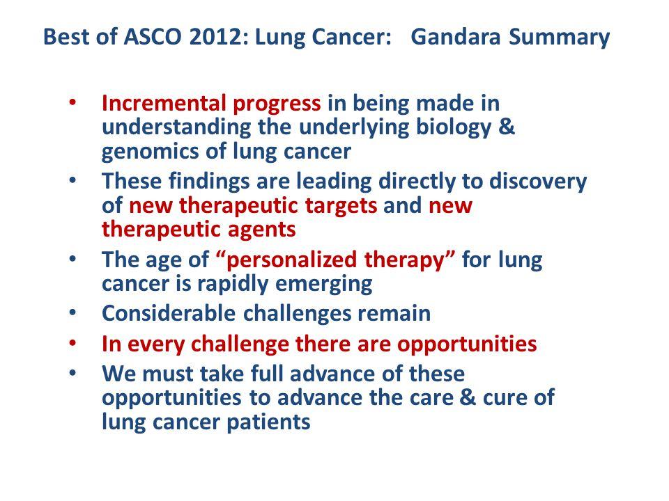 Best of ASCO 2012: Lung Cancer: Gandara Summary