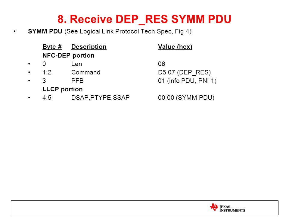 8. Receive DEP_RES SYMM PDU
