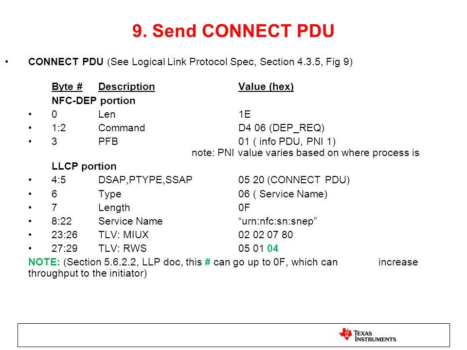 9. Send CONNECT PDU CONNECT PDU (See Logical Link Protocol Spec, Section 4.3.5, Fig 9) Byte # Description Value (hex)