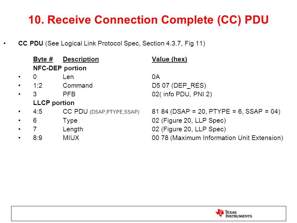 10. Receive Connection Complete (CC) PDU