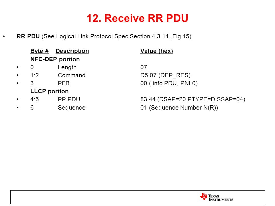 12. Receive RR PDU RR PDU (See Logical Link Protocol Spec Section 4.3.11, Fig 15) Byte # Description Value (hex)