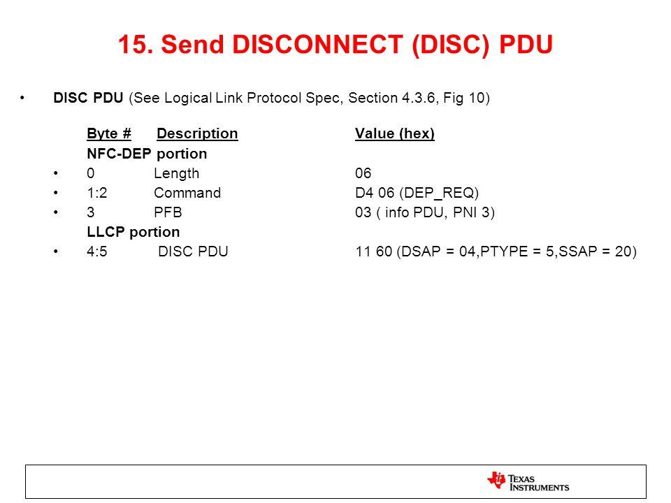 15. Send DISCONNECT (DISC) PDU