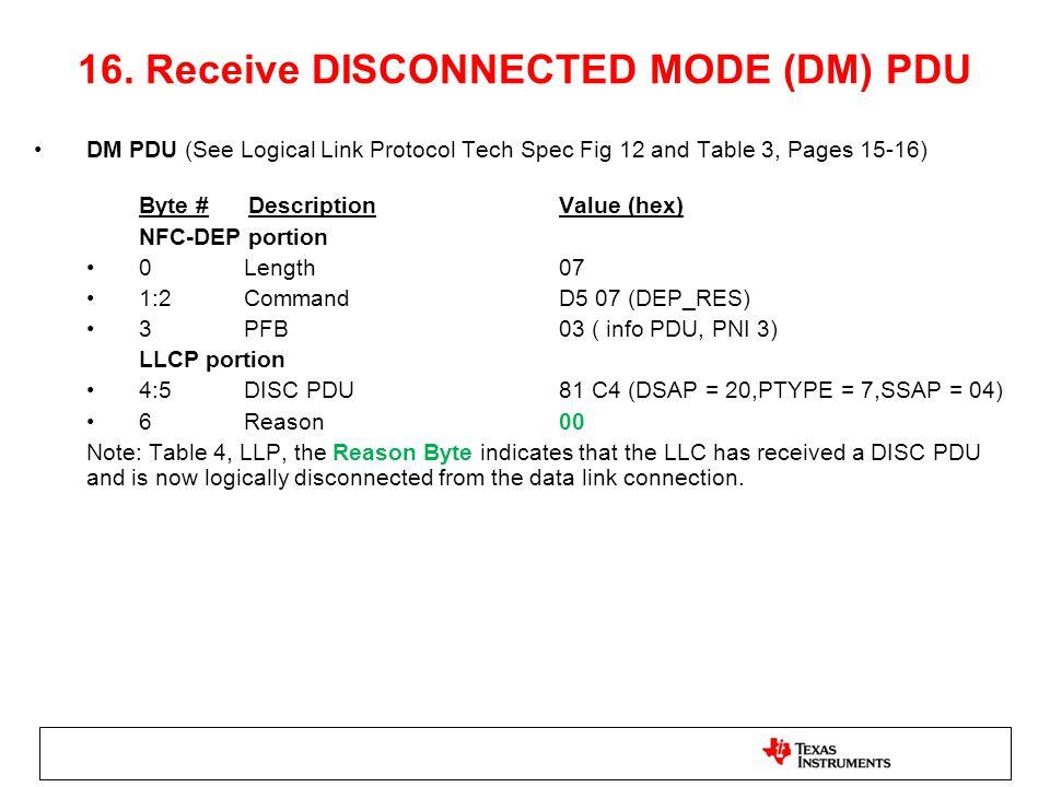 16. Receive DISCONNECTED MODE (DM) PDU