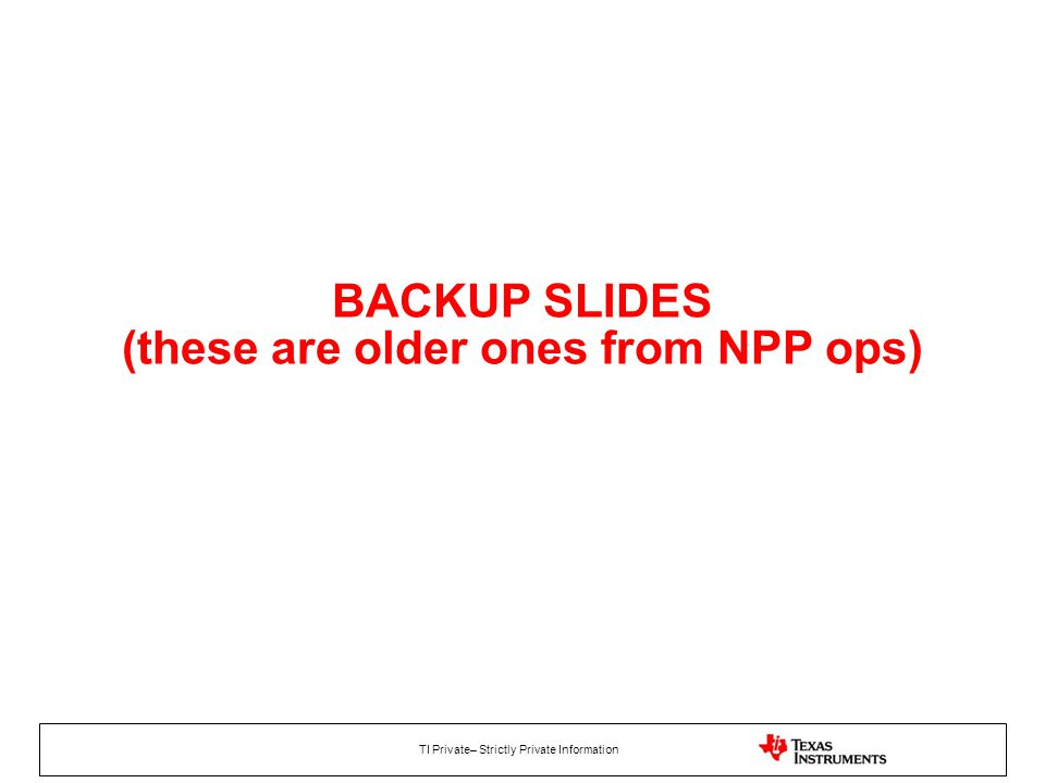 BACKUP SLIDES (these are older ones from NPP ops)