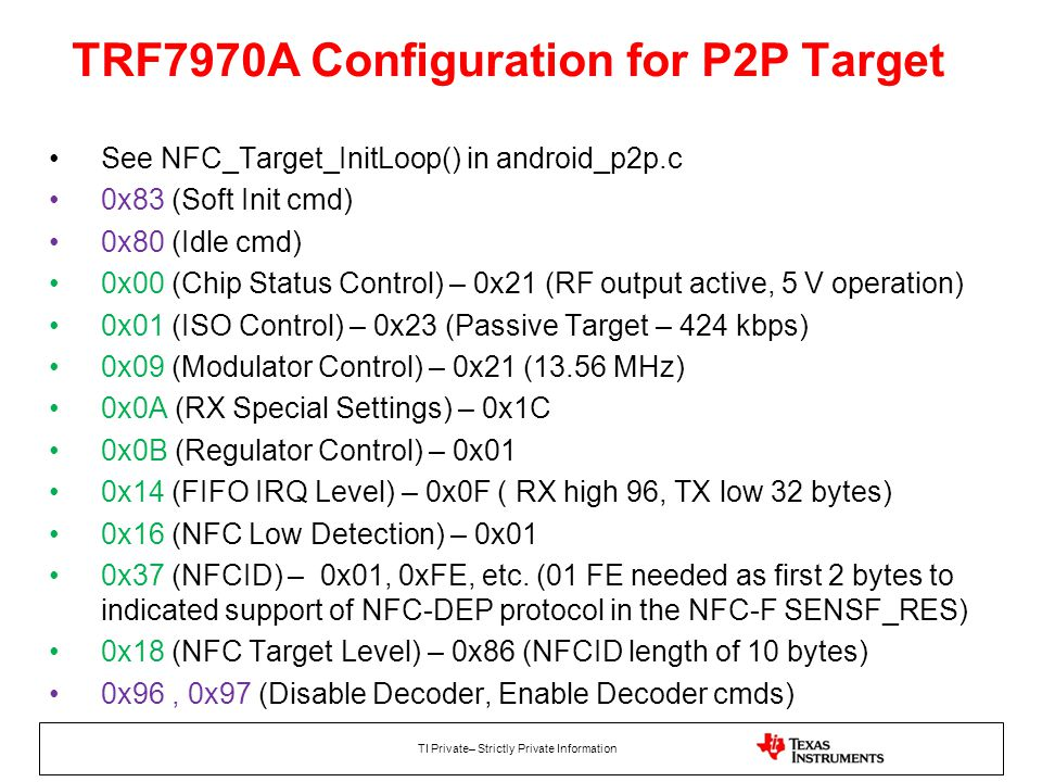 TRF7970A Configuration for P2P Target