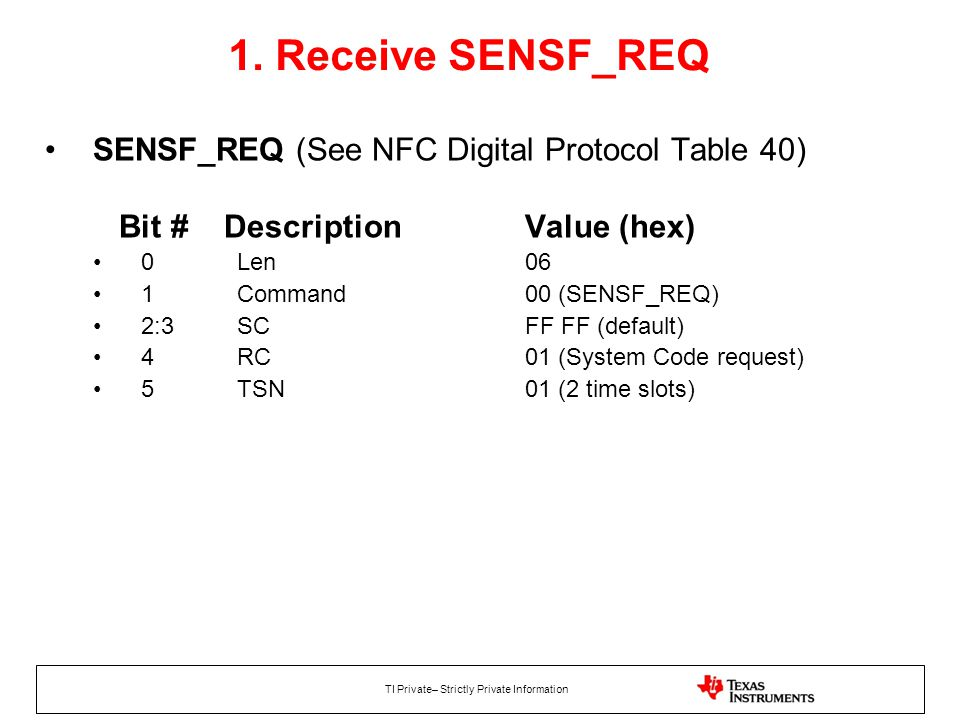 1. Receive SENSF_REQ SENSF_REQ (See NFC Digital Protocol Table 40) Bit # Description Value (hex)