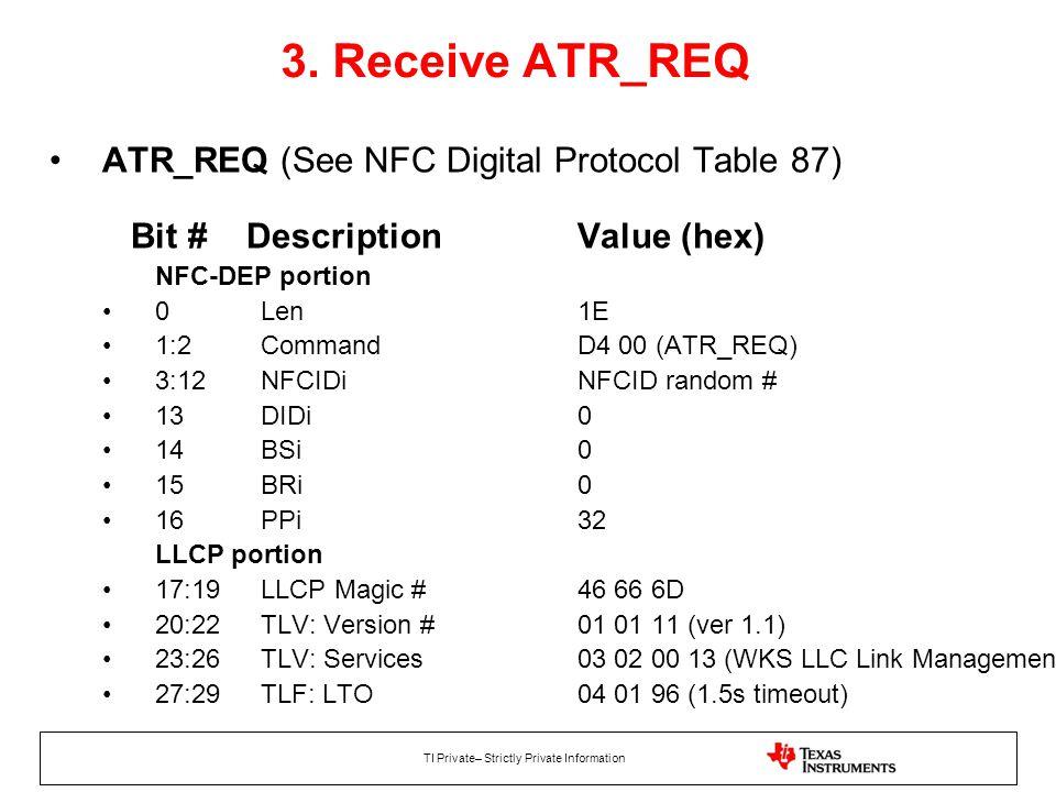 3. Receive ATR_REQ ATR_REQ (See NFC Digital Protocol Table 87) Bit # Description Value (hex)
