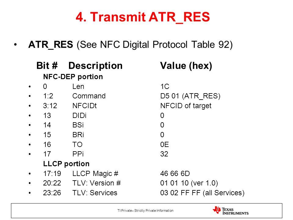 4. Transmit ATR_RES ATR_RES (See NFC Digital Protocol Table 92) Bit # Description Value (hex)
