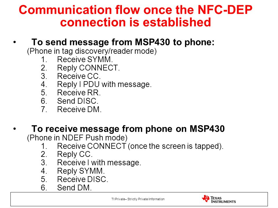 Communication flow once the NFC-DEP connection is established