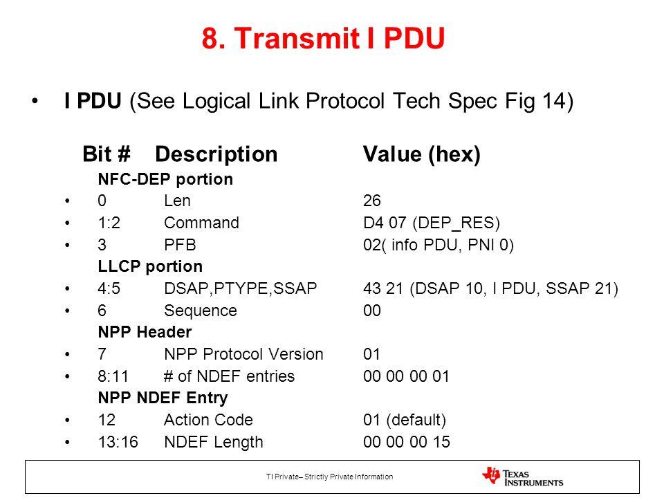 8. Transmit I PDU I PDU (See Logical Link Protocol Tech Spec Fig 14)