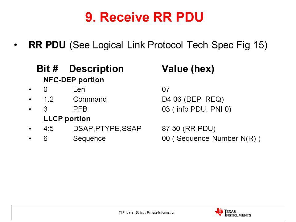 9. Receive RR PDU RR PDU (See Logical Link Protocol Tech Spec Fig 15)