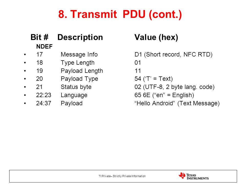 8. Transmit PDU (cont.) Bit # Description Value (hex) NDEF
