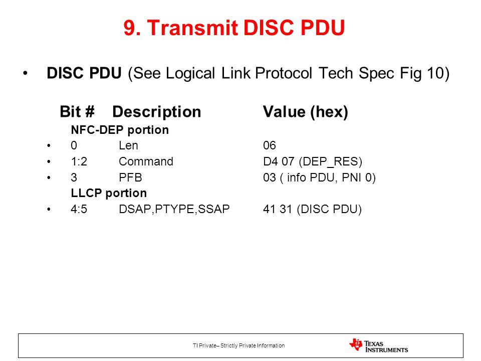 9. Transmit DISC PDU DISC PDU (See Logical Link Protocol Tech Spec Fig 10) Bit # Description Value (hex)