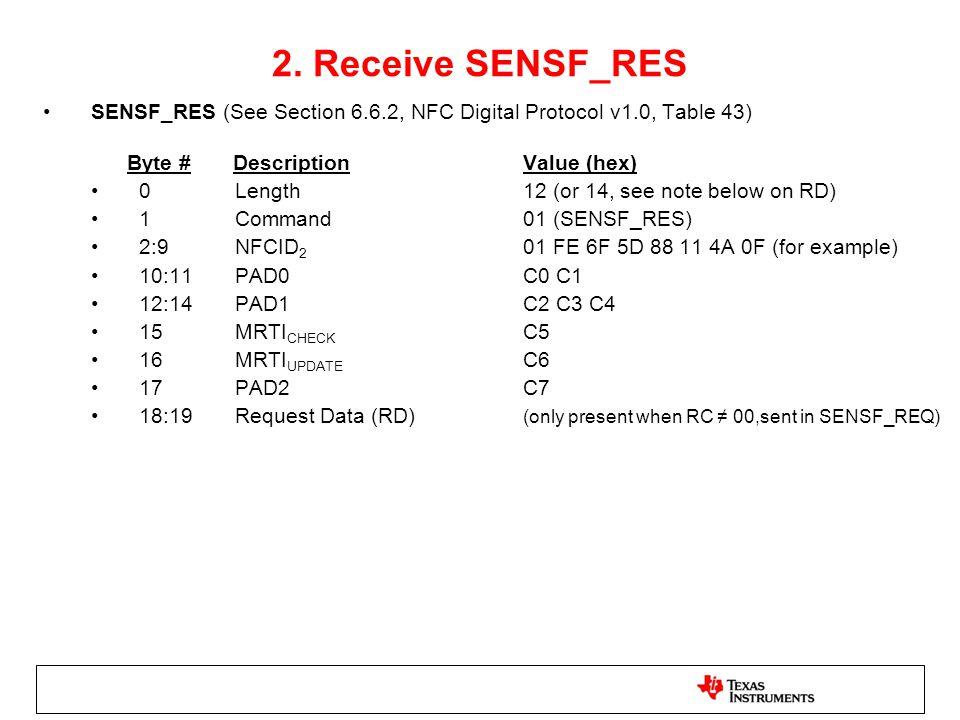2. Receive SENSF_RES SENSF_RES (See Section 6.6.2, NFC Digital Protocol v1.0, Table 43) Byte # Description Value (hex)