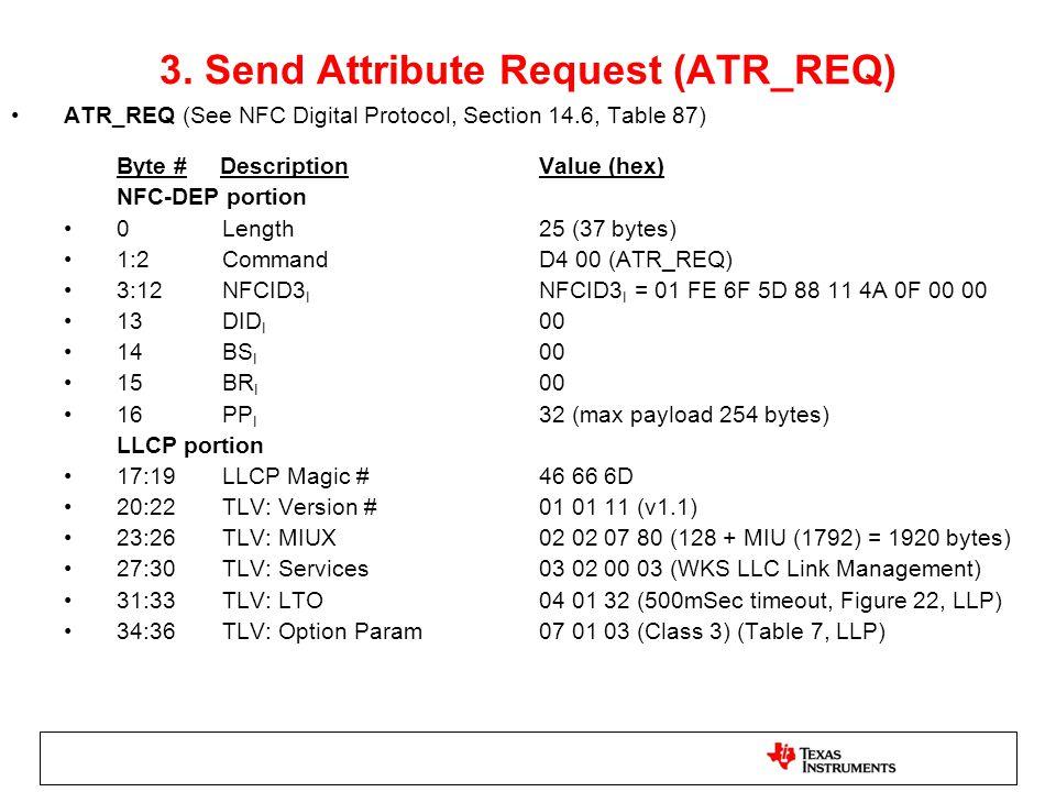 3. Send Attribute Request (ATR_REQ)