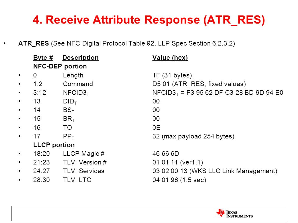 4. Receive Attribute Response (ATR_RES)