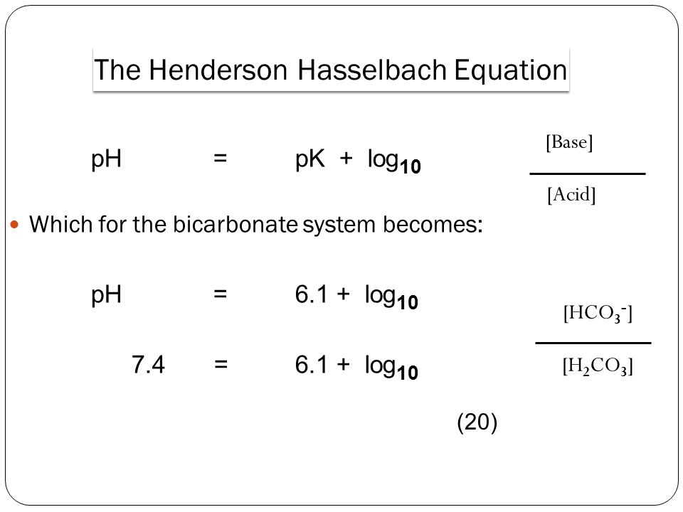 The Henderson Hasselbach Equation
