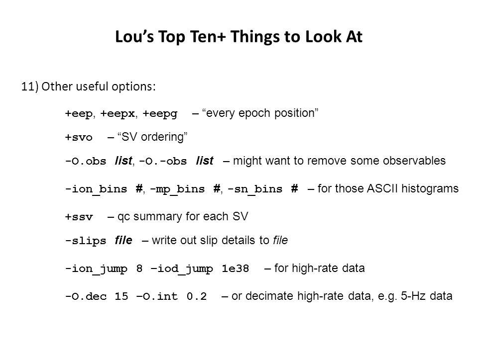Lou's Top Ten+ Things to Look At