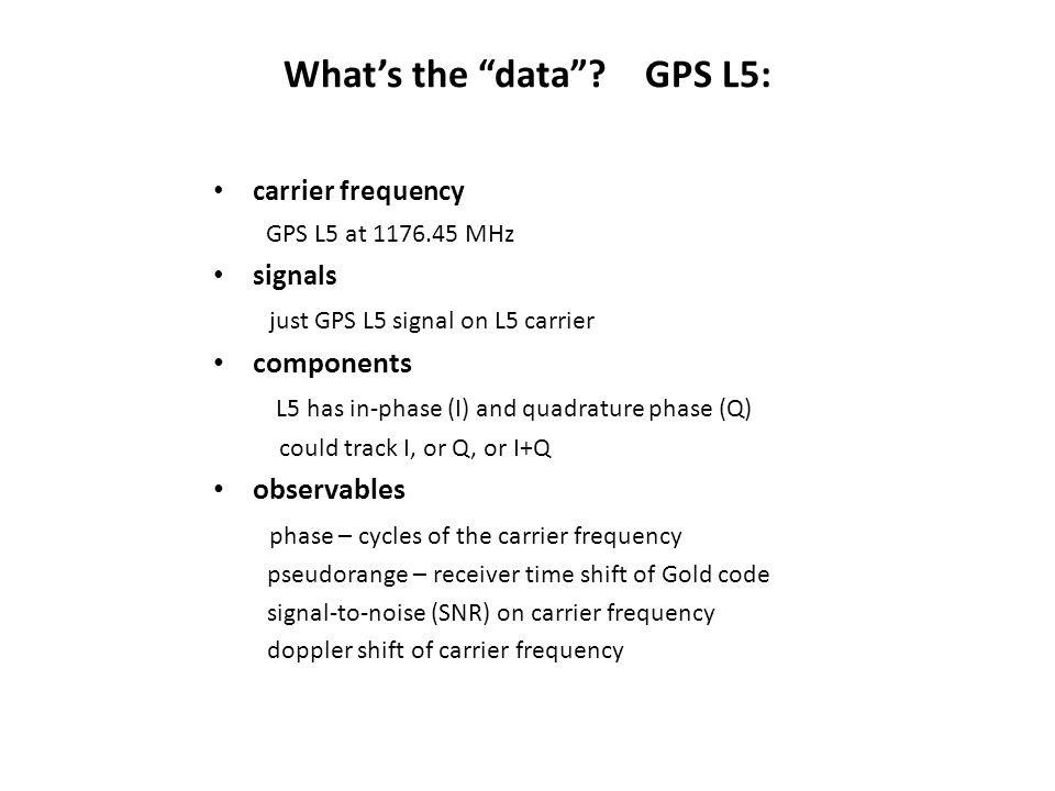 What's the data GPS L5:
