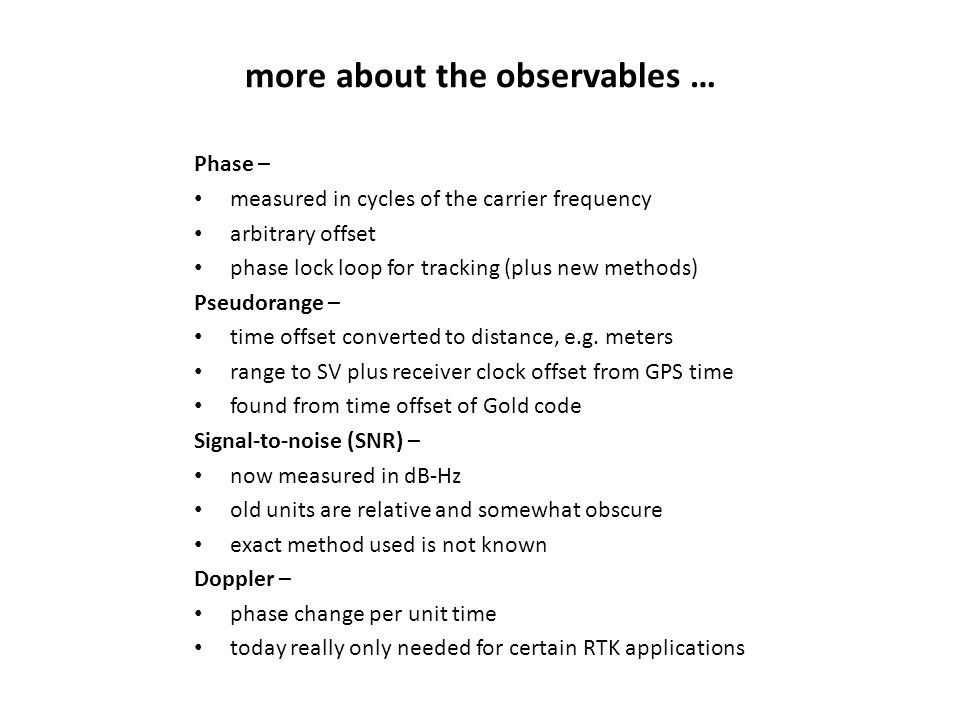 more about the observables …