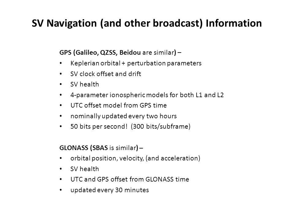SV Navigation (and other broadcast) Information