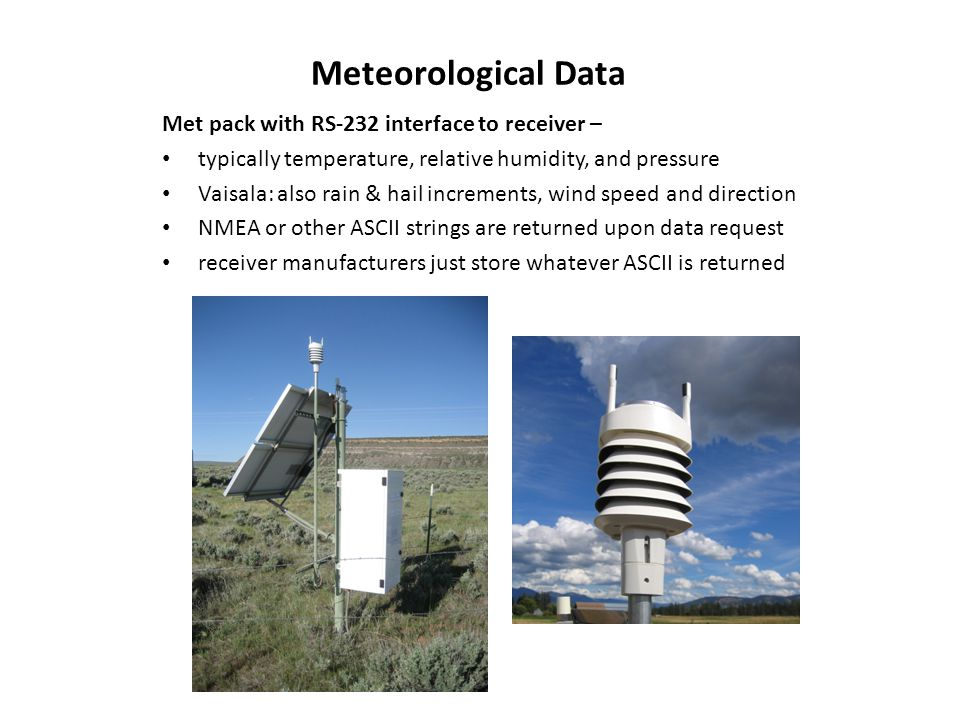Meteorological Data Met pack with RS-232 interface to receiver –
