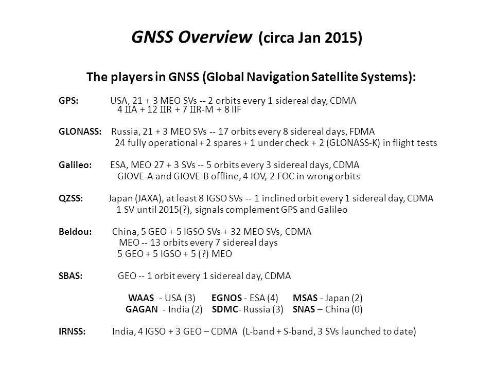 GNSS Overview (circa Jan 2015)