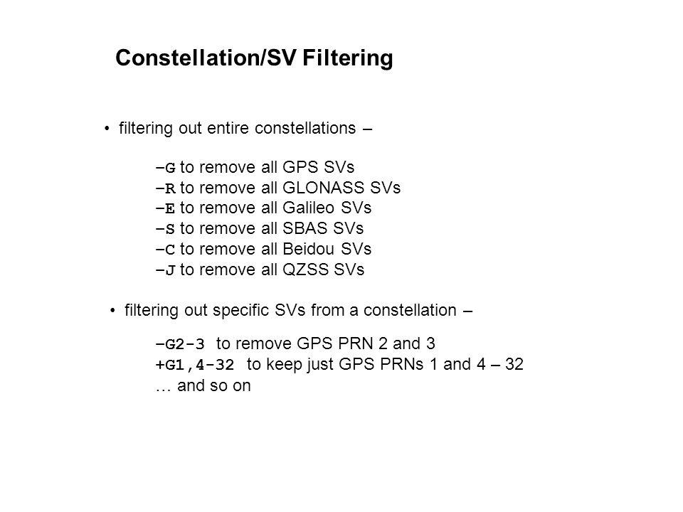 Constellation/SV Filtering