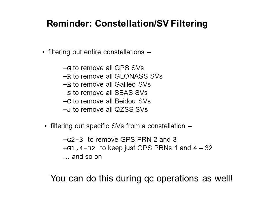 Reminder: Constellation/SV Filtering