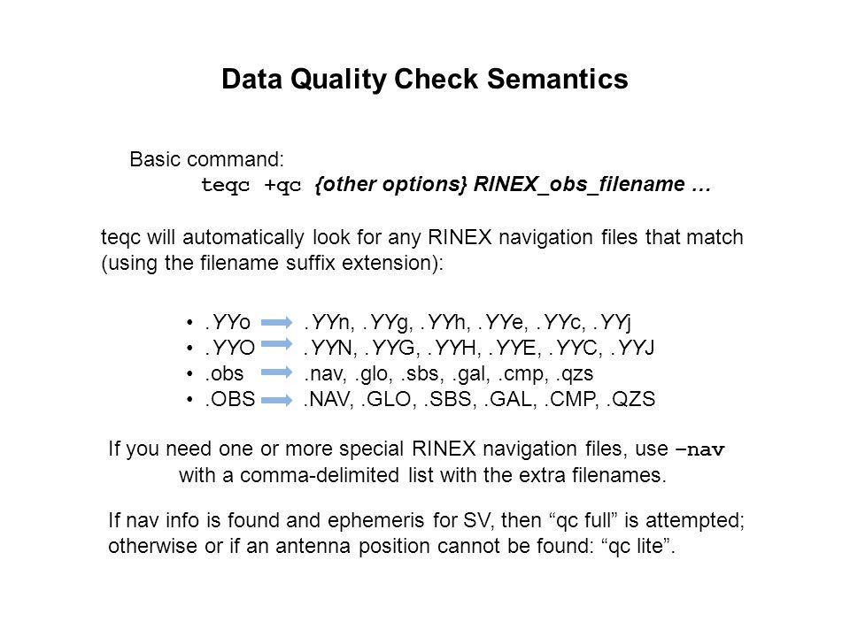 Data Quality Check Semantics