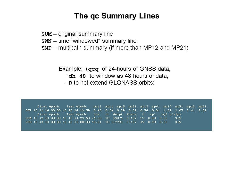 The qc Summary Lines SUM – original summary line