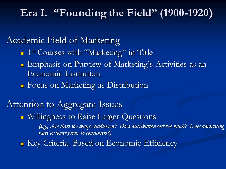 Era I. Founding the Field (1900-1920)