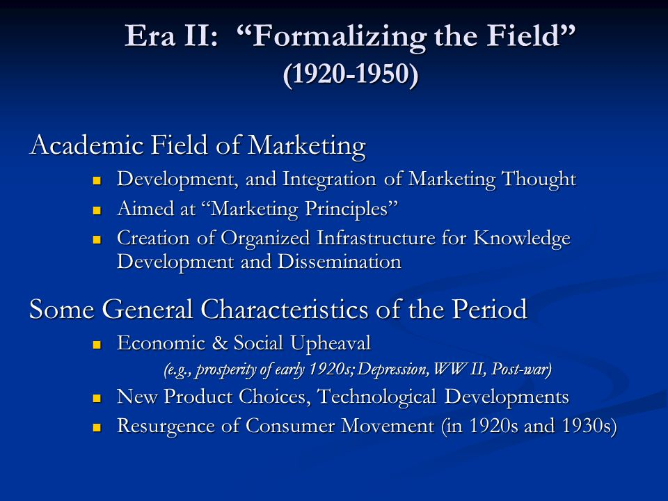 Era II: Formalizing the Field (1920-1950)