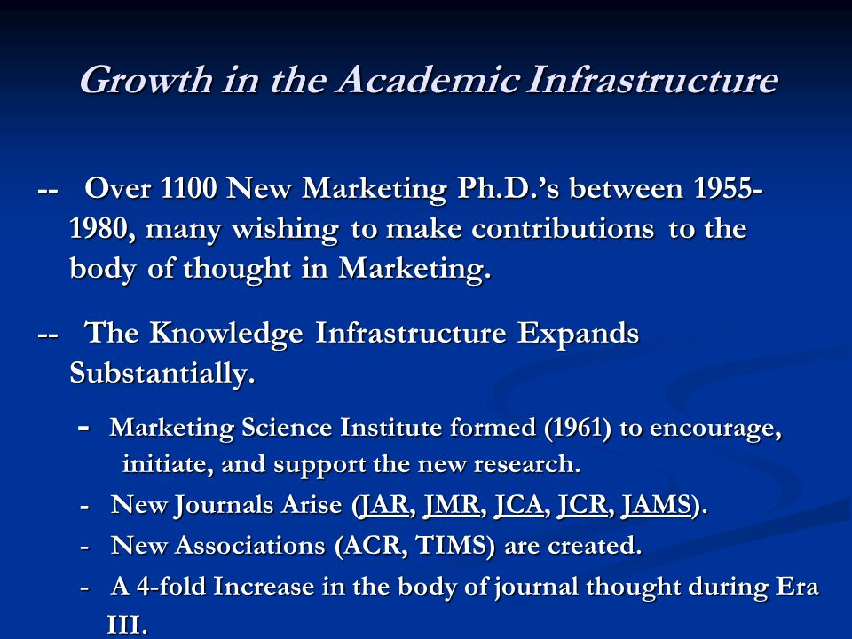 Growth in the Academic Infrastructure