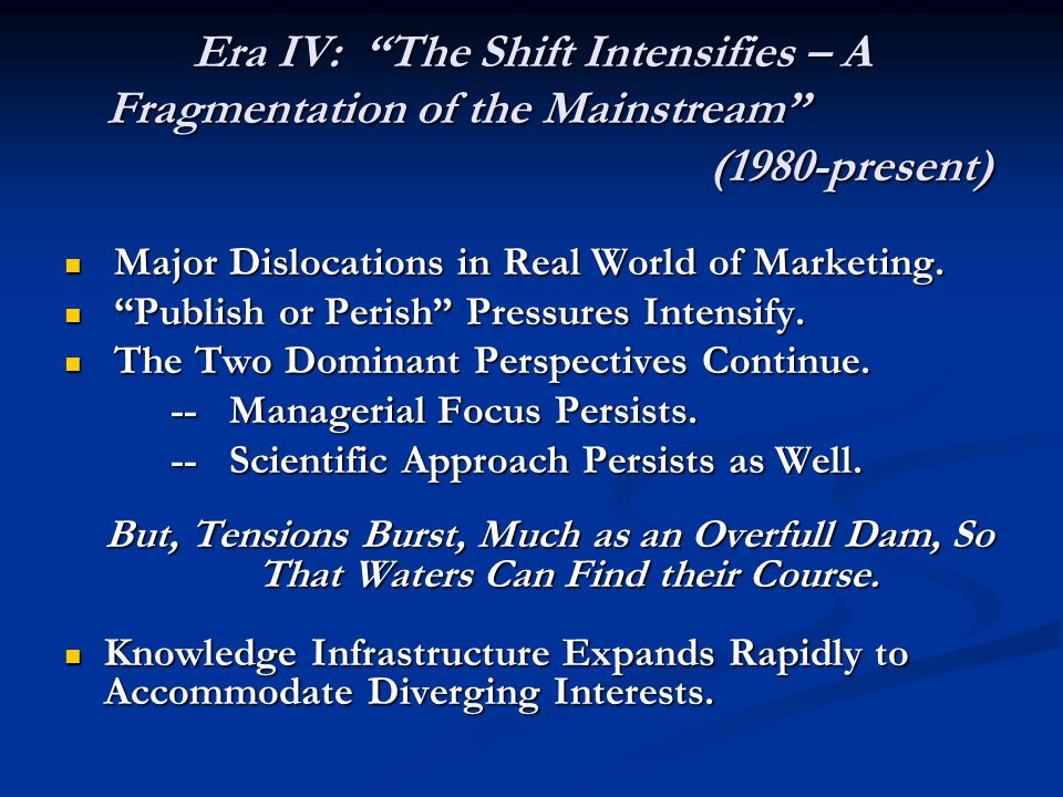 Era IV: The Shift Intensifies – A Fragmentation of the Mainstream
