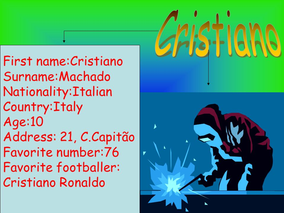 Cristiano First name:Cristiano Surname:Machado Nationality:Italian