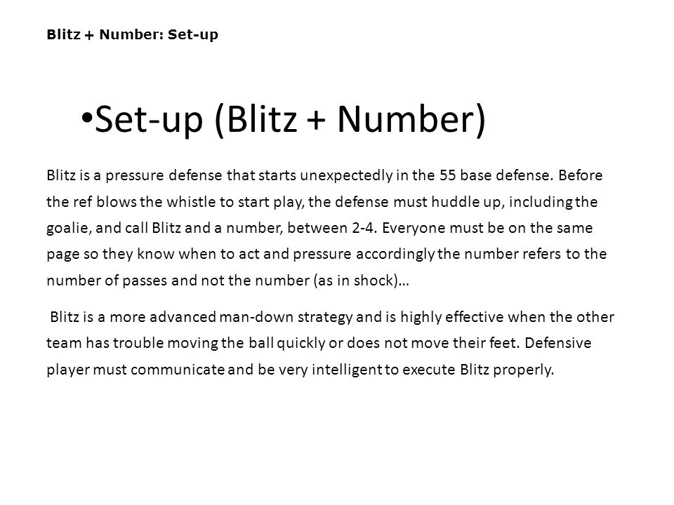 Set-up (Blitz + Number)