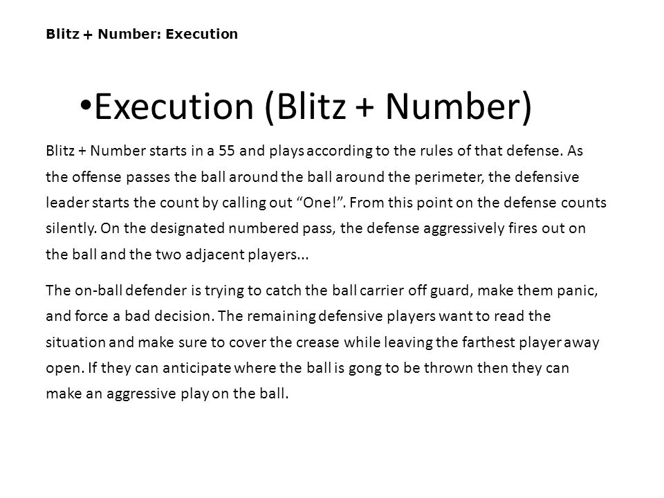 Execution (Blitz + Number)