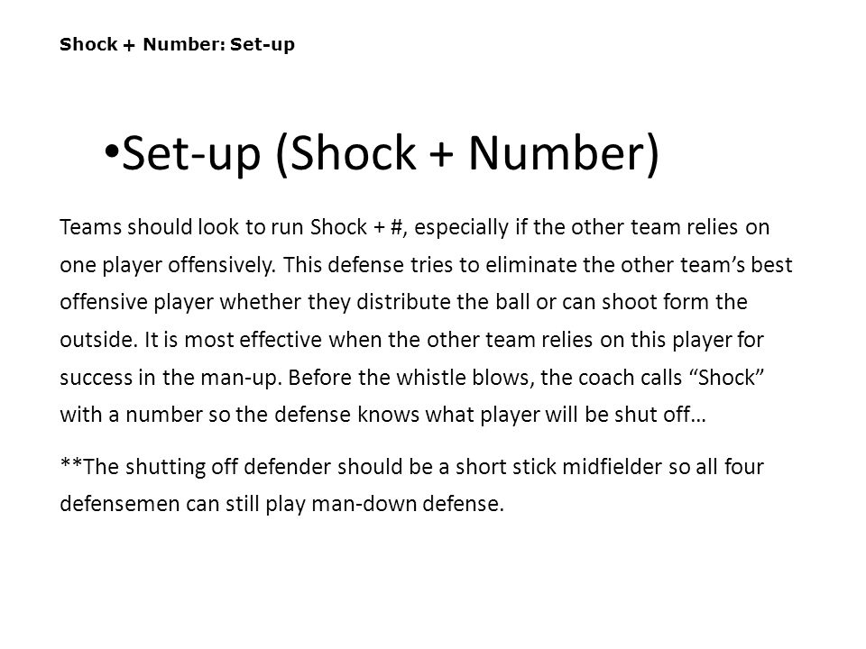 Set-up (Shock + Number)