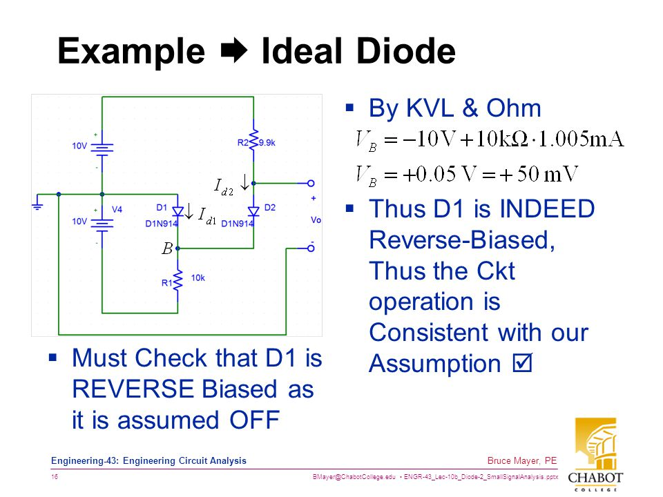 Example  Ideal Diode By KVL & Ohm