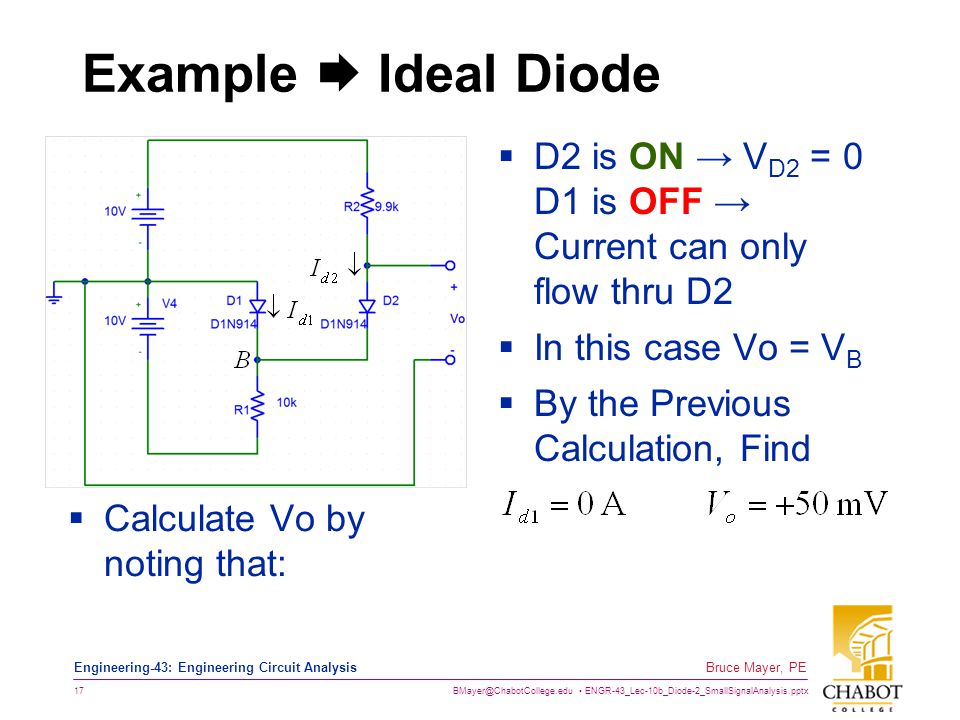 Example  Ideal Diode D2 is ON → VD2 = 0 D1 is OFF → Current can only flow thru D2. In this case Vo = VB.