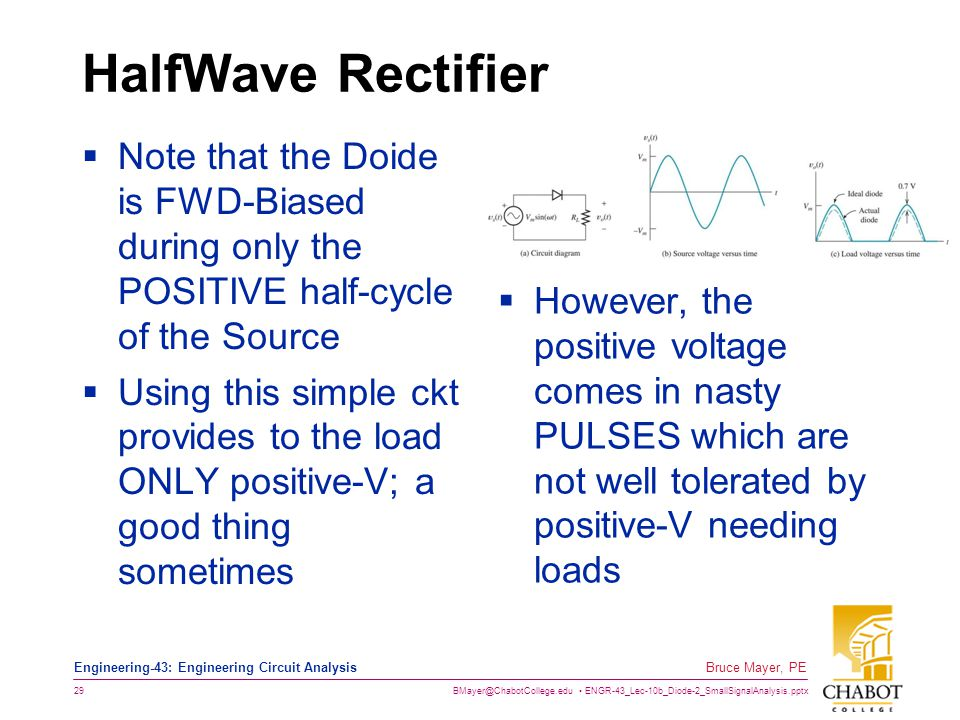 HalfWave Rectifier Note that the Doide is FWD-Biased during only the POSITIVE half-cycle of the Source.