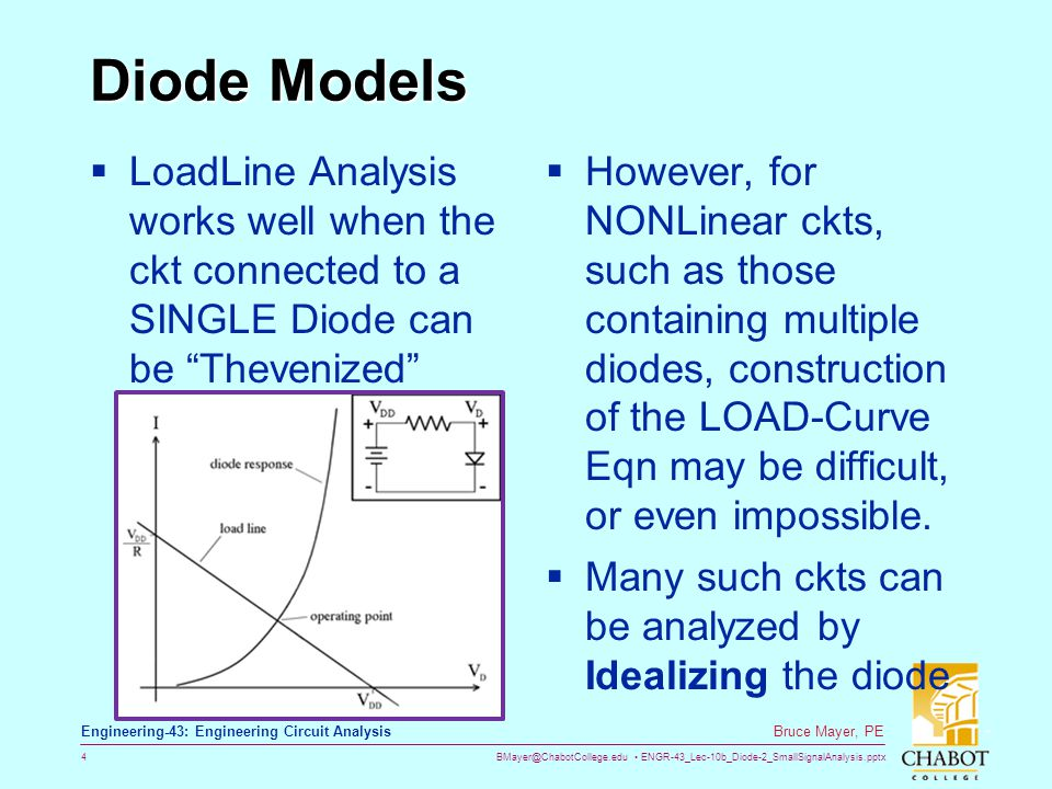 Diode Models LoadLine Analysis works well when the ckt connected to a SINGLE Diode can be Thevenized