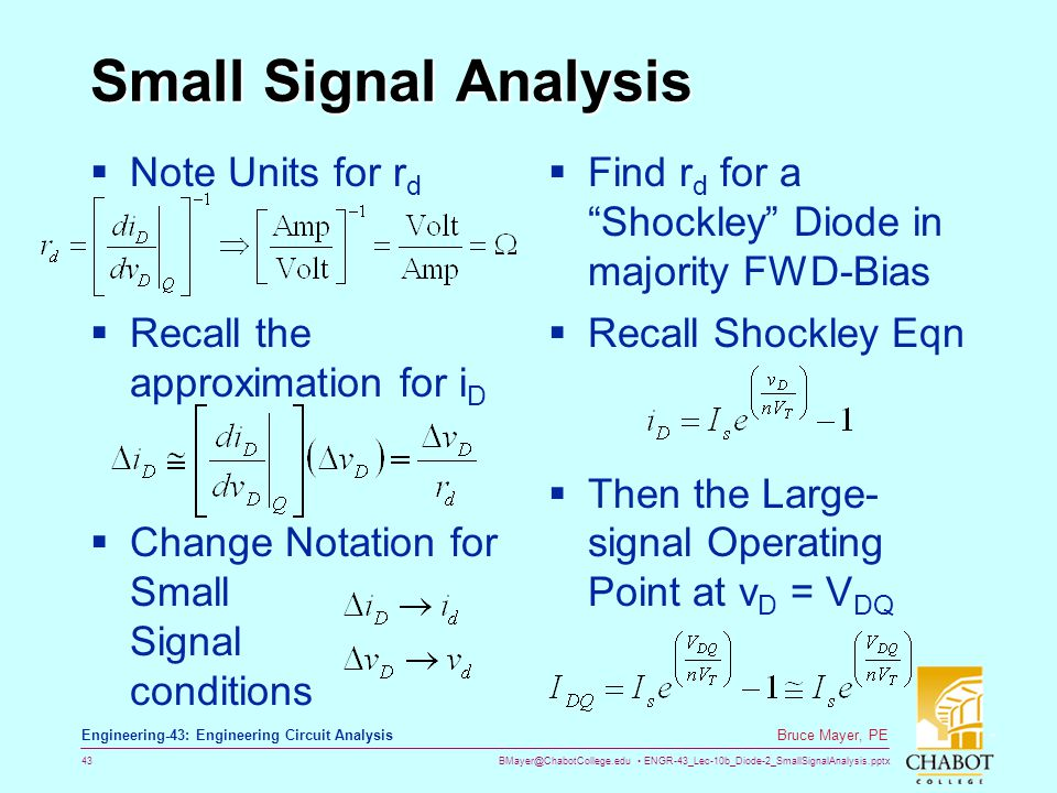 Small Signal Analysis Note Units for rd