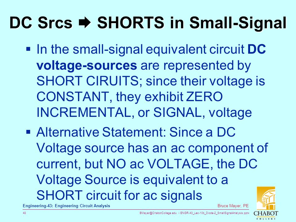 DC Srcs  SHORTS in Small-Signal
