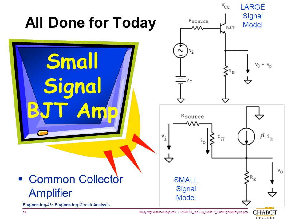 Small Signal BJT Amp All Done for Today Common Collector Amplifier